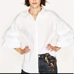 Zara white flounce sleeve blouse